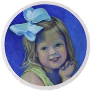 Round Beach Towel featuring the painting Big Bow Little Girl by Jeanette Jarmon