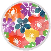 Big Bright Flowers Round Beach Towel by Linda Woods