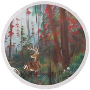 Big Buck Round Beach Towel