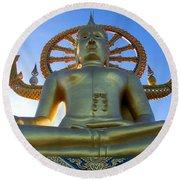 Big Buddha At Koh Samui Round Beach Towel
