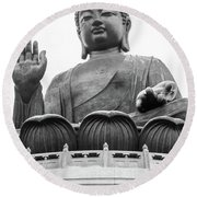 Big Buddha At Po Lin Monastery 1 Round Beach Towel