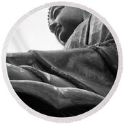 Big Buddha At Po Lin Monastery 2 Round Beach Towel