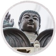 Big Buddha At Po Lin Monastery 3 Round Beach Towel