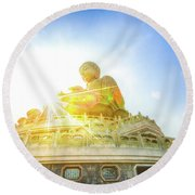 Big Buddha Lantau Round Beach Towel