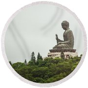 Big Buddha On The Hill Round Beach Towel