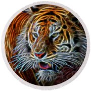 Round Beach Towel featuring the digital art Big Cat by Aaron Berg