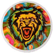 Big Cat Abstract Round Beach Towel