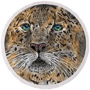 Round Beach Towel featuring the digital art Big Cat by Darren Cannell
