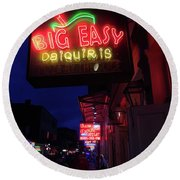 Round Beach Towel featuring the photograph Big Easy Sign by Steven Spak