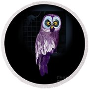 Big Eyed Owl Round Beach Towel