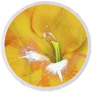Big Glad In Yellow Round Beach Towel