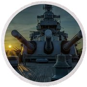 Big Guns At Sunset Round Beach Towel by Denis Lemay