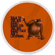 Big Hairy Hand Round Beach Towel