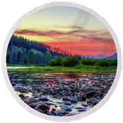Round Beach Towel featuring the photograph Big Hole River Sunset by Bryan Carter