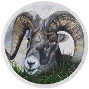Big Horned Sheep Round Beach Towel