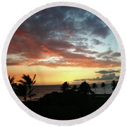 Round Beach Towel featuring the photograph Big Island Sunset #2 by Anthony Jones