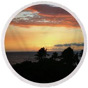 Round Beach Towel featuring the photograph Big Island Sunset by Anthony Jones
