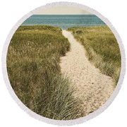 Round Beach Towel featuring the photograph Big Lake Beach Path by Michelle Calkins