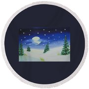 Big Moon Christmas Round Beach Towel
