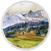 Big Mountain Sunset Round Beach Towel
