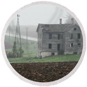 Big Old House In Fog Round Beach Towel