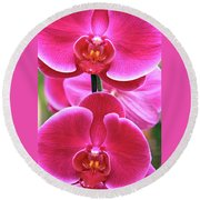 Big Orchids Round Beach Towel