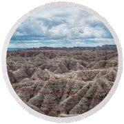 Big Overlook Badlands National Park  Round Beach Towel