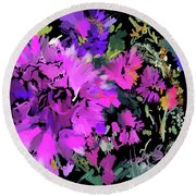Big Pink Flower Round Beach Towel by DC Langer