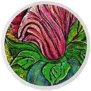 Big Pink Flower Round Beach Towel