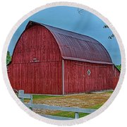 Round Beach Towel featuring the photograph Big Red Barn At Cross Village by Bill Gallagher