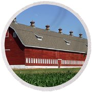 Big Red Barn In Spring Round Beach Towel