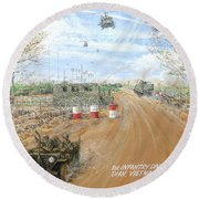 Big Red One Main Gate Di An Vietnam 1965 Round Beach Towel