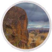 Big Rock At Lava Beds Round Beach Towel