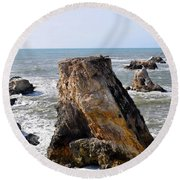 Round Beach Towel featuring the photograph Big Rocks In Grey Water by Barbara Snyder