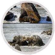 Round Beach Towel featuring the photograph Big Rocks In Grey Water Duo by Barbara Snyder