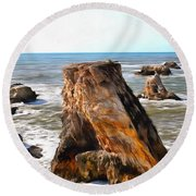 Round Beach Towel featuring the photograph Big Rocks In Grey Water Painting by Barbara Snyder