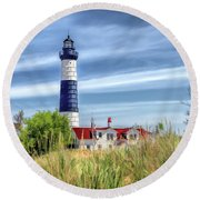 Round Beach Towel featuring the painting Big Sable Point by Christopher Arndt