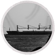 Big Ship Round Beach Towel