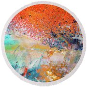 Big Shot - Orange And Blue Colorful Happy Abstract Art Painting Round Beach Towel