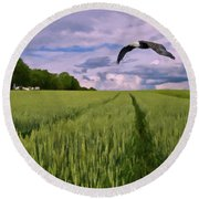 Round Beach Towel featuring the photograph Big Sky by David Dehner