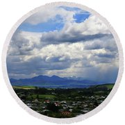 Big Sky Over Oamaru Town Round Beach Towel