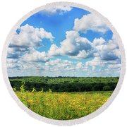 Round Beach Towel featuring the photograph Big Sky -wisconsin -color by Ricky L Jones