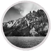 Big Snowy Mountain In Argentine Patagonia - Black And White Round Beach Towel