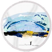 Big Storm Coming Round Beach Towel by Debbi Saccomanno Chan