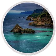 Big Sur Coastline Round Beach Towel by Joseph Hollingsworth