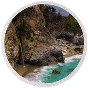 Big Sur Waterfall Round Beach Towel