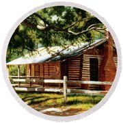 Big Thicket Information Center_the Staley Cabin Round Beach Towel