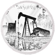 Big Thicket Oilfield Round Beach Towel