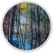 Big Thicket Water Reflection Round Beach Towel