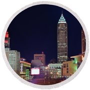 Round Beach Towel featuring the photograph Big Three In Cle by Frozen in Time Fine Art Photography